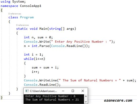 C# Program to Find Sum of Natural Numbers